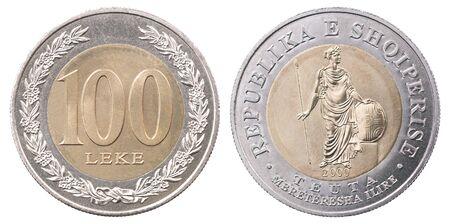 One hundred Albanian lek isolated on white background set
