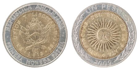 One Argentine peso coin isolated on white background - set Banque d'images - 144160396