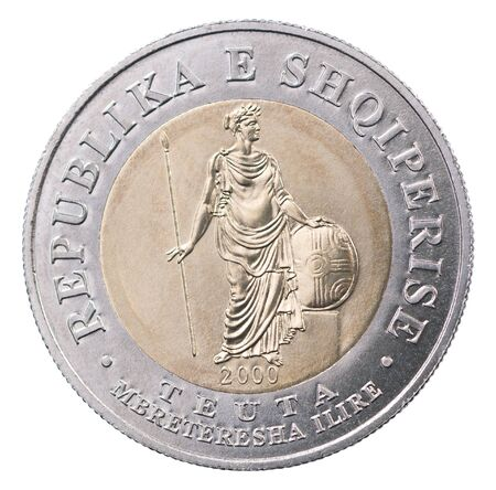 Albanian coin with the image of Tevta - Illyrian queen isolated on white background Reklamní fotografie