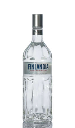 ALMATY, KAZAKHSTAN - DECEMBER 15, A bottle of vodka Finland, manufacturer of Finlandia Vodka Worldwide
