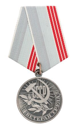 Russian medal with the inscription Veteran Labor isolated on white background