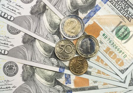 Bulgarian coin on top of dollar bills for financial and investment concepts Stock fotó