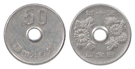 50 Japanese yen isolated on white background close up