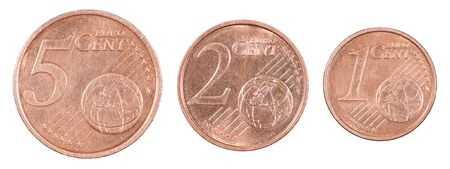Set cents in a row isolated on white background