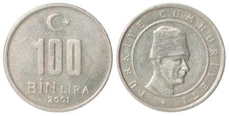 Turkish 100 BinLira closeup isolated on white background Stock fotó