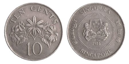 Singapore coin ten cents on a white background Foto de archivo