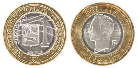 Venezuela one Bolivar coin isolated on white background - set