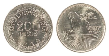 Colombia silver 200 pesos isolated on a white background - set Stock Photo
