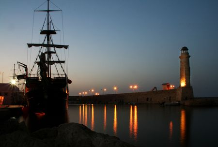 rethymno greece crete at night