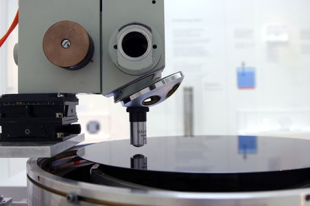 computer component: Microscope and silikon wafer