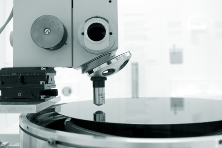 Scientific microscope in a laboratory with a single monocular objective conceptual of scientific or medical research