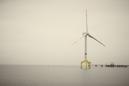 Offshore wind turbine for generating renewable and sustainable electric power from natural wind energy photo