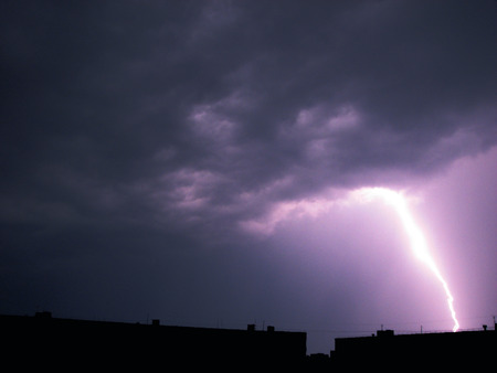 discharge: A discharge of the lightning on the violet sky