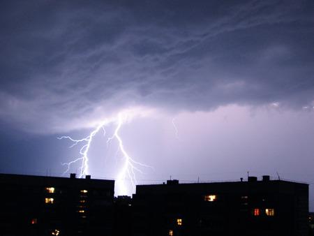 The white lightning in the violet sky