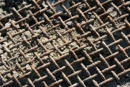 a rusty grid on the morning sunlight Stock Photo