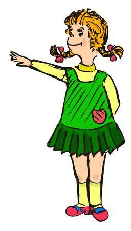 drawing redhead girl in a green sarafan