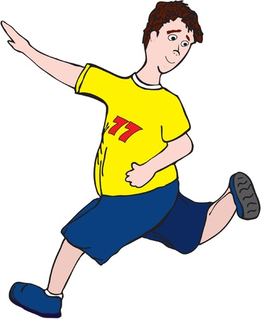 boy in a yellow T-shirt is engaged in running