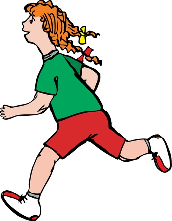 Redhead girl with pigtails likes to run