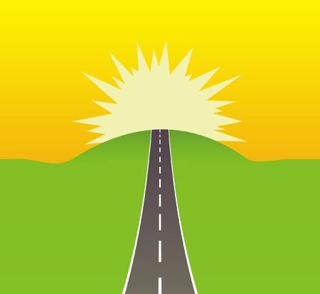 an asphalt road leading to the sun