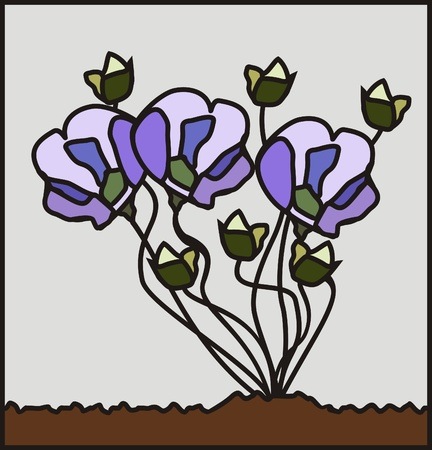 drawing flowers growing out of the ground