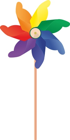 windmill: a whirligig with a blades rainbow colored