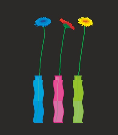 a three colored gerberas in bright vases Illustration