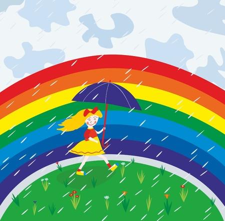 girl under umbrella on the rainbow background Illustration