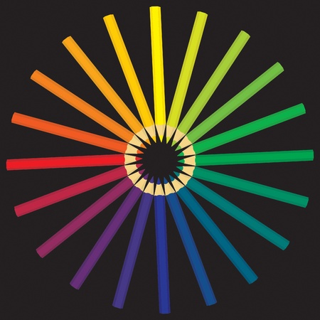a pencils laid out the color wheel Illustration