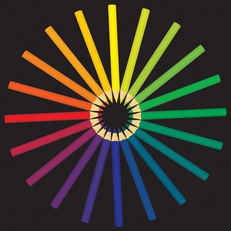 een potloden legde het kleurenwiel op Vector Illustratie