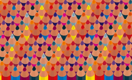 a lot of colored pencils directed upwards Illustration