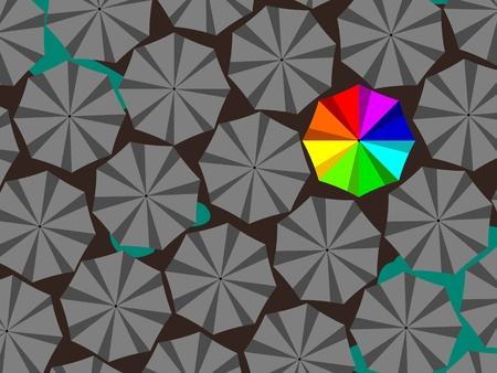 bright colored umbrella surrounded by a lot of gray Illustration