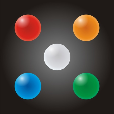 five colored balls hanging in the air