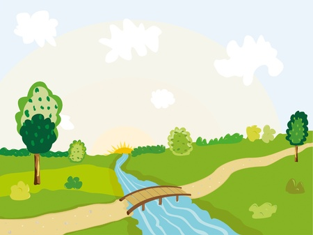 bridge in nature: a sunny landscape with river and trees Illustration