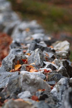border of marble stones along the track Stock Photo