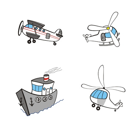 a small collection of cartoon of transport Vector