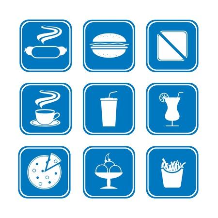 piatto cibo: un piccolo set di icone fast food Vettoriali