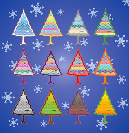 collection of colorful Christmas trees with a pattern