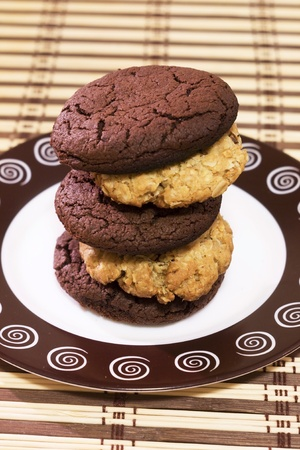 homemade cookies laid out on a stack of saucer Stock Photo
