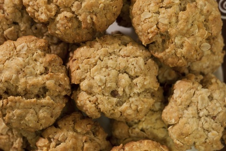 background of homemade oatmeal cookies with nuts