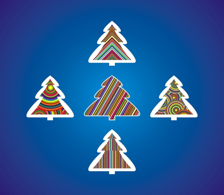 Christmas trees painted with colored lines and circles