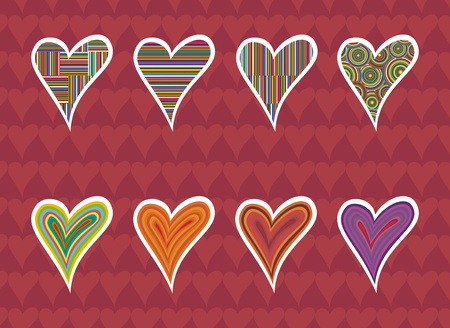 colored in bright colors hearts with background