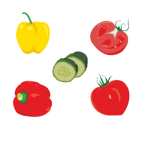 ripe tomatoes with sweet pepper and cucumber Illustration