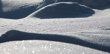 a curves of the white snow dunes Stock Photo