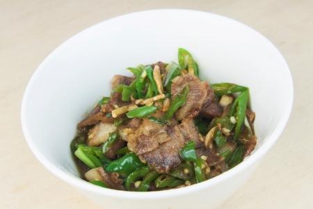 hunan: The Chinese Hunan, Pepper Pork Stock Photo