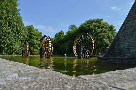 waterwheel: Waterwheel in the pond