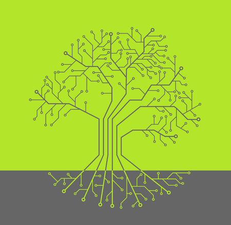 Printed circuit like tree with root, green background Vektoros illusztráció