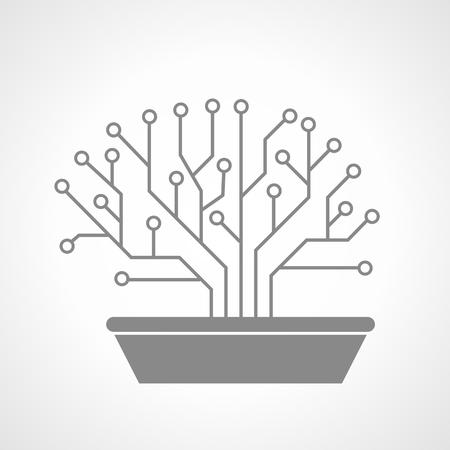 Printed circuit like bonsai, brain shape