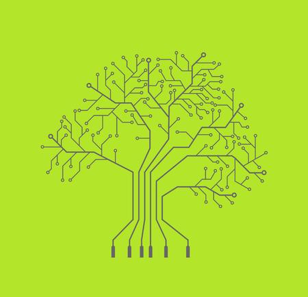 Printed circuit like tree, green background