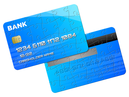Blue credit card as puzzle, two sides