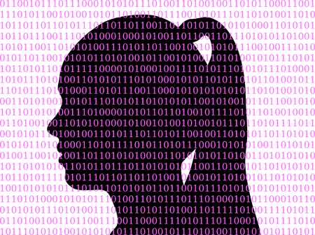Silhouette of girl in background from binary code